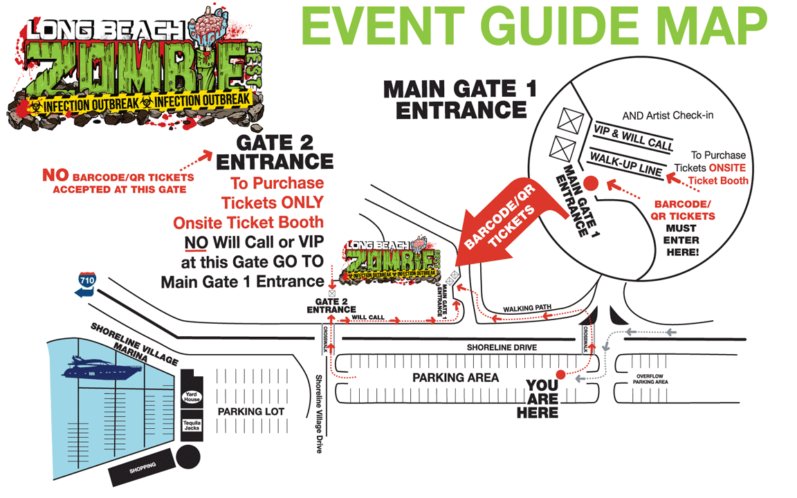 Long Beach Zombie Walk Event Guide Map